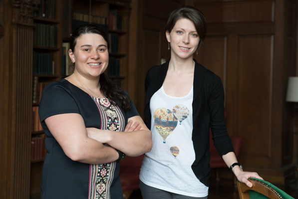 Aylin Woodward '15, left, and Nina Maksimova '15 were on campus when they received the news from the National Science Foundation (Photo by Eli Burakian '00)