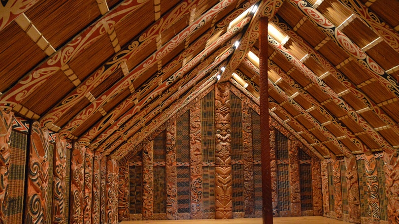 Interior of a Maori building.