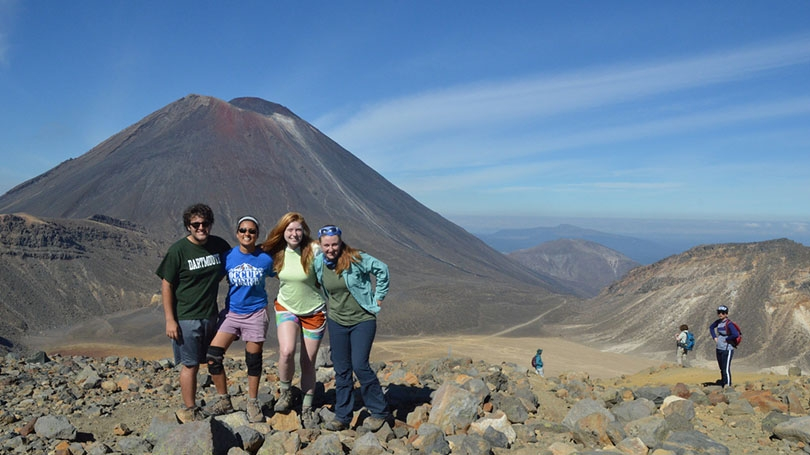 FSP students in front of a mountain.