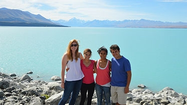 FSP students in front of the ocean in New Zealand.