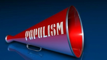 Red megaphone with the word Populism printed on the side