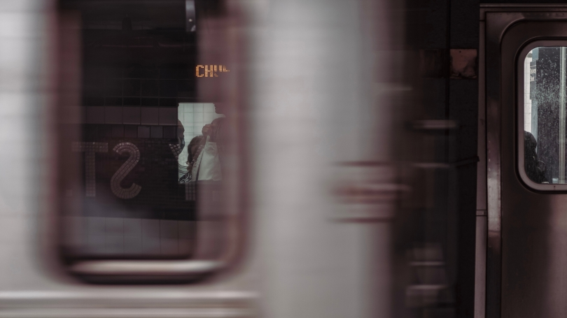 Blurry Subway Car