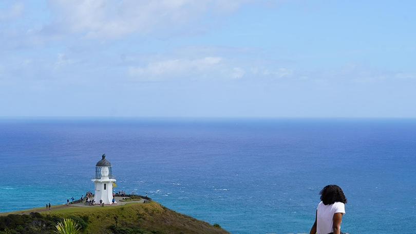 Alexandria Casteel, our trip's graduate student, during our trip to Cape Reinga