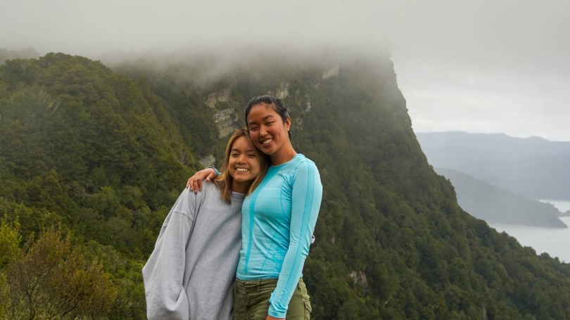 7.	Uyen Dang and Eowyn Pak on the maunga meeting point at Lake Waikaremoana