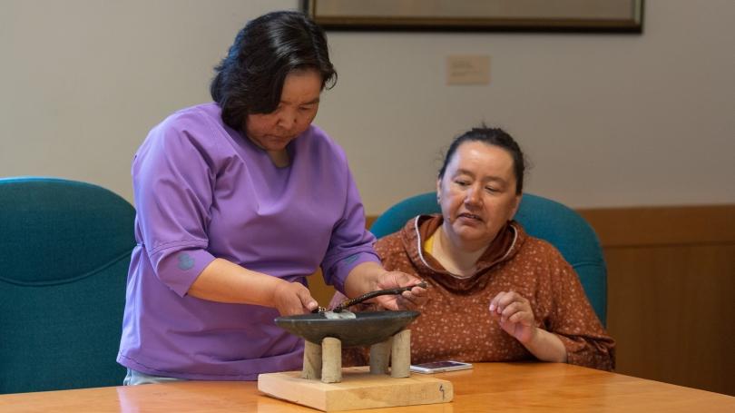 Rhoda Kokiapi, the executive director of the Avataq Cultural Institute (left), and Nancy Palliser
