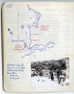 Professor Elmer Harp's papers, including this hand-drawn map of the gravesites where Harp found Inuit remains in 1967.