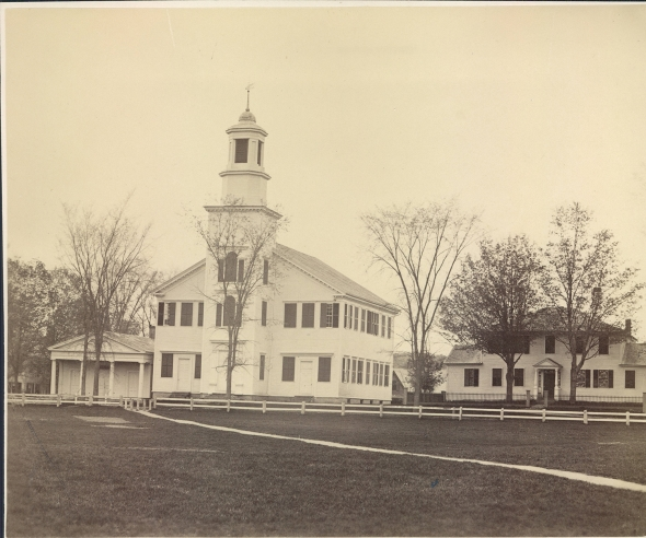 A photograph likely from the 1860s shows the Dartmouth Congressionalist Church and vestry, and the adjacent Ripley/Choate House to the right.